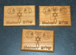 Israel Olive Wood Small Magnet Judaica Messianic Menorah Jerusalem Peace Dove image 3