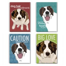Pop Doggie St Bernard Refrigerator Magnets with Funny Sayings Set of 4 - $32.21