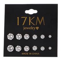 Crystal Stud Earrings Set For Women Push Back Closure Good Quality 6 Pai... - $7.98
