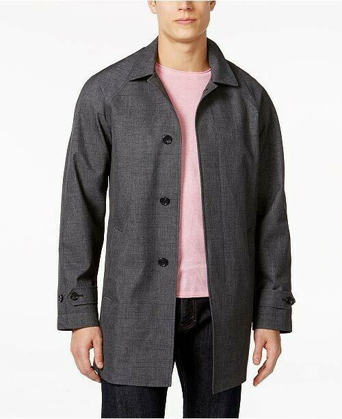 Michael Kors Mens Collin Slim Fit Rain Coat Charcoal Fancy Size Large $395 - NWT - $129.34