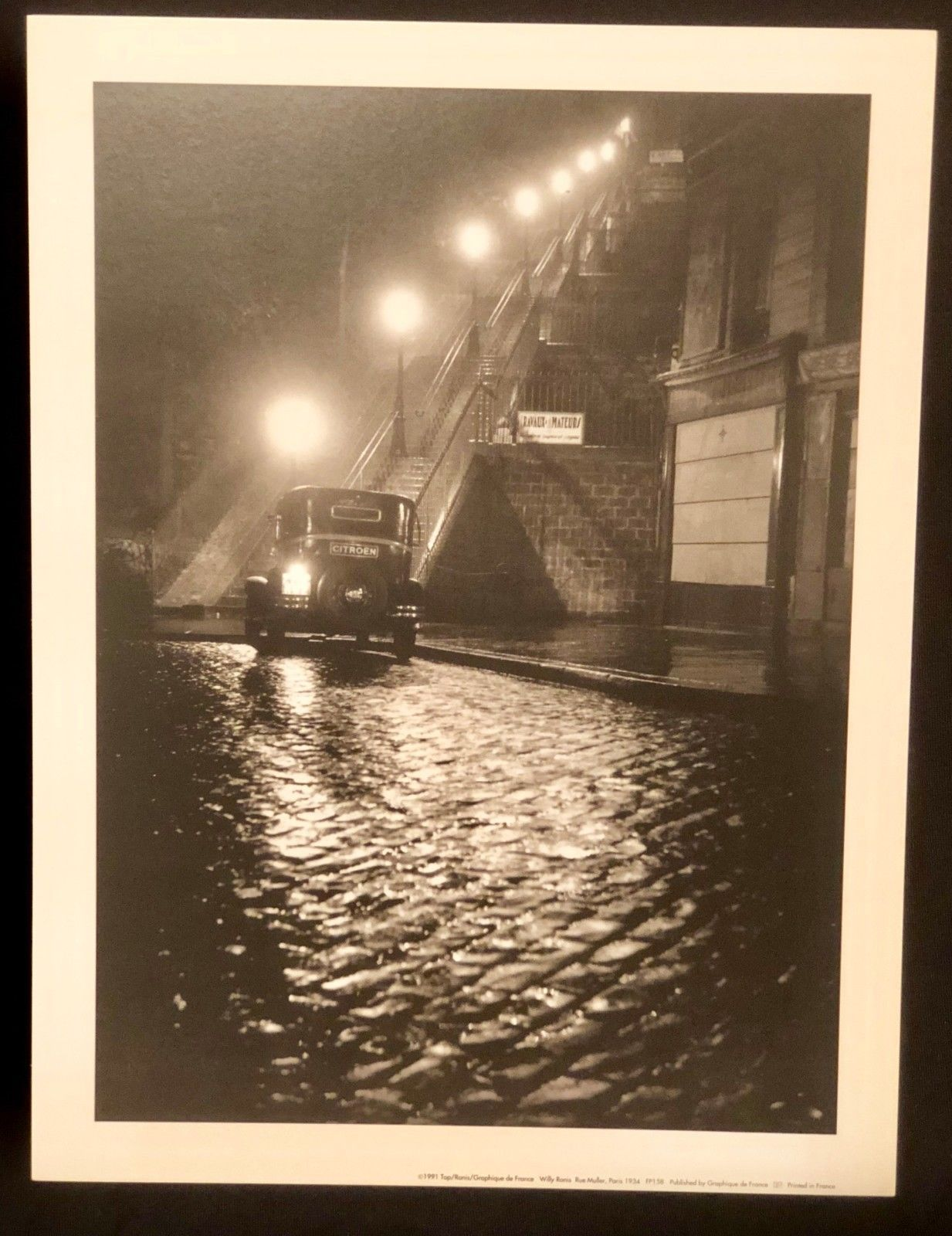 WILLY RONIS Photograph Rue Muller Paris Night 9x12 Lithograph Portfolio Print