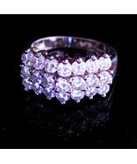 Vintage Sterling Engagement Ring - brilliant cz crown top ring - Sparkli... - $125.00