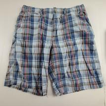American Eagle Mens Shorts Sz 33 AE Plaid Blue Casual Walking Golf Bermuda - $19.65