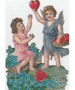 Vintage Valentine Card Early 1900s Girl and Angel Easel Back Embossed - $12.86