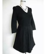 Anthropologie Ganni Black Cross Knit Dress XS w Crystal Pleated Skirt Fi... - $29.99