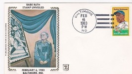 BABE RUTH STAMP UNVEILED BALTIMORE, MD 2/6/1983 H & M Z SILK - ₹228.14 INR