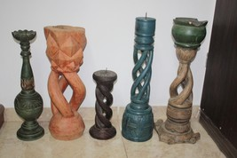 Antique Twisted Wooden Floor Candle Holder Сandlestick Hand Carved Large... - $46.39