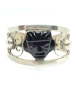 1940s Taxco Mexico 980 Silver Thick Aztec Face Cuff Bracelet 38g READDes... - $123.74