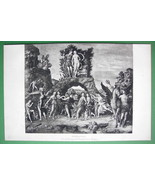 NUDE Muses on Mount Parnassus - VICTORIAN Era Antique Print - $9.45