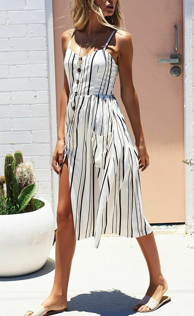 Striped Dress Women Summer Spaghetti Strap Beach Casual V-Neck Bohemian Midi
