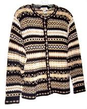 Sz M - Talbots Black, White & Tan Zigzag Striped Long Sleeve Sweater  - $28.49