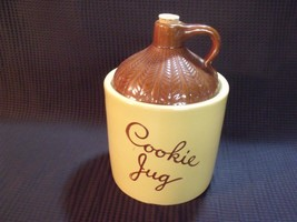 Cookie Jar Moonshine Whiskey Jug Pottery Cork Top Maple Leaf Monmouth IL... - $27.72