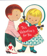 Vintage Valentine Card Boy in Cowboy Boots and Girl Die Cut for Child Ha... - $5.93