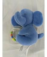 "Carters Blue Elephant Plush Rattle Ring 4"" 2015 Stuffed Animal Toy - $6.95"