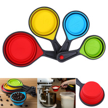 4PCS Measuring Cups Measuring Spoons Set Collapsible Foldable Silicone S... - $7.55