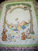 "Handcrafted - Quilted & XStitched ""OUR LITTLE BLESSING"" Quilt Crib add B... - $179.99"
