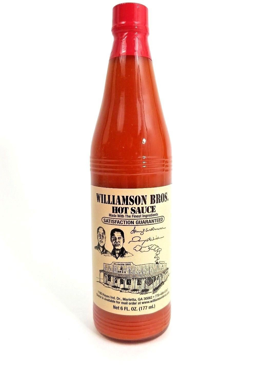 Primary image for WILLIAMSON BROS Premium Hot Pepper Sauce 6 oz. Bottle (NOT BBQ/Bar-B-Q sauce!)