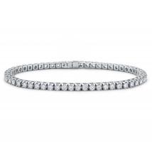 4mm  Silver Tone Cubic Zirconia White CZ Tennis Bracelet Prong Classic - $9.79