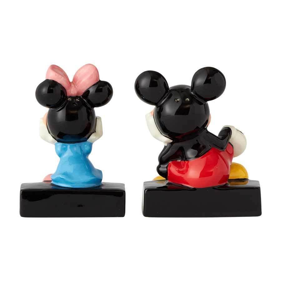 Walt Disney Mickey & Minnie Sitting Ceramic Salt and Pepper Shakers Set NEW