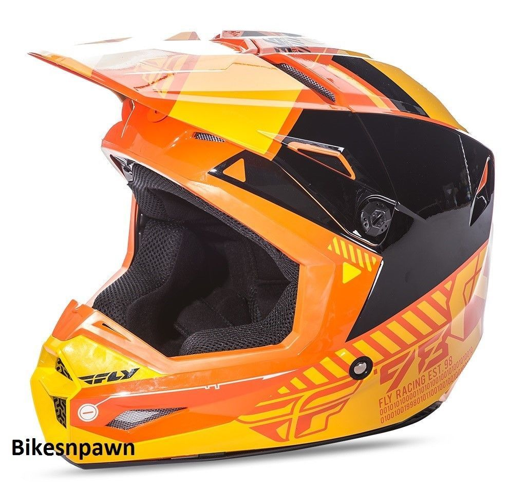 New L Adult Fly Racing Elite Onset Motocross Off Road Helmet Orange/Yellow