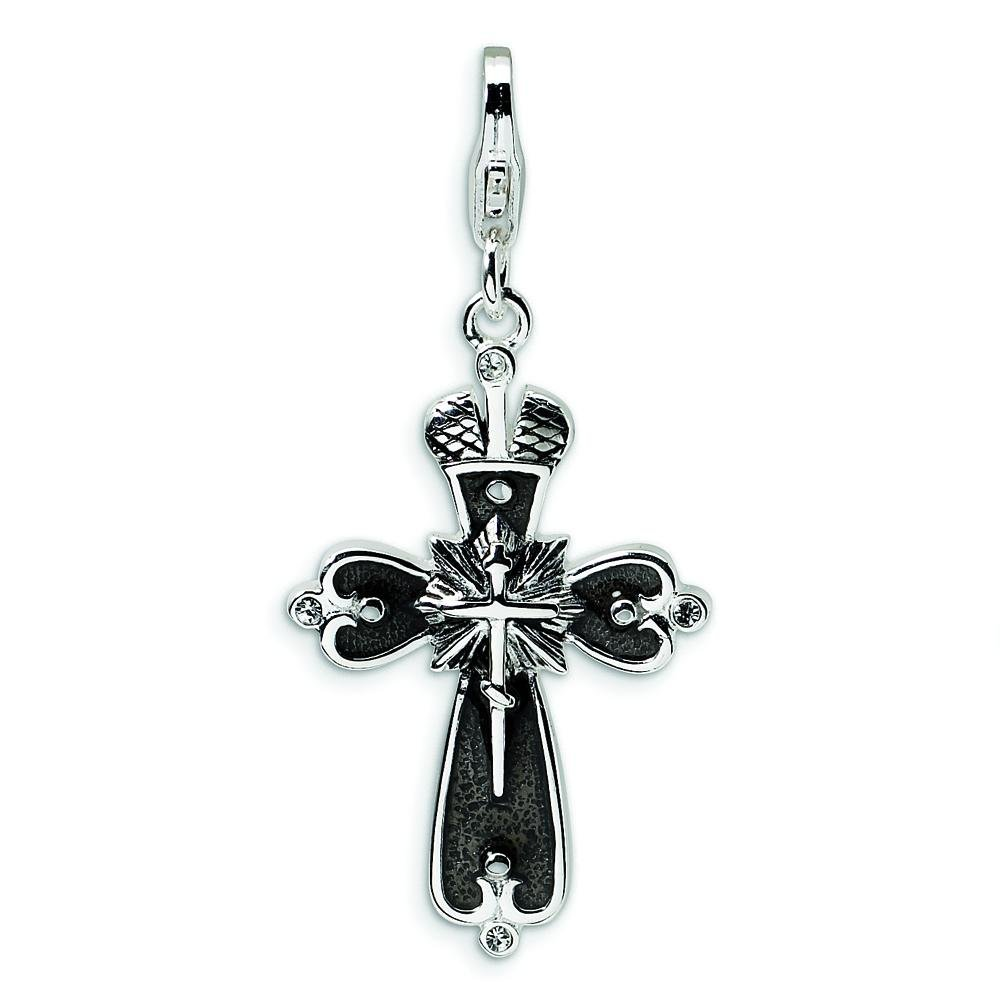 Sterling Silver Cross Lobster Clasp Charm Made With Swarovski Crystals