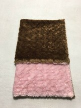 Baby Talk Chocolate Brown Light Pink Minky Textured Plush Soft Blanket - $24.99