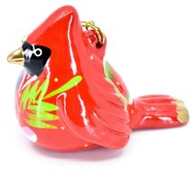 Handcrafted Painted Ceramic Red Cardinal Confetti Ornament Made in Peru image 3