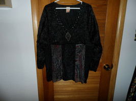 Womans plus size 26/28 black crinkle style baby doll top by Faded Glory - $14.50