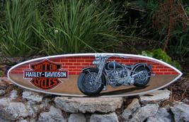 Harley Davidson Biker Motorcycle Surfboard Sign Wall Plaque Tiki Bar Woo... - $60.78