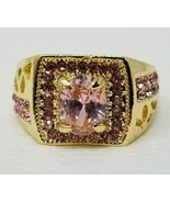 Pink Sapphire Looking Costume Ring Gold Color Size 8 - $6.92