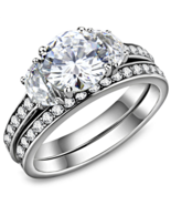 HCJ 2 CARAT SILVER TONE 3 STONE CZ ENGAGEMENT & WEDDING RING SET SIZE 6, 7 - $25.19