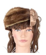 Vtg 50s MODERN MISS Soft Brown Fur Hair Band Hat Berret Hair Head Band H... - $28.70