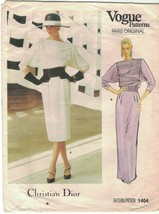 Vogue 1404 Christian Dior 1980s Dress Gown Tucked Bodice Pattern Size 10... - $19.59
