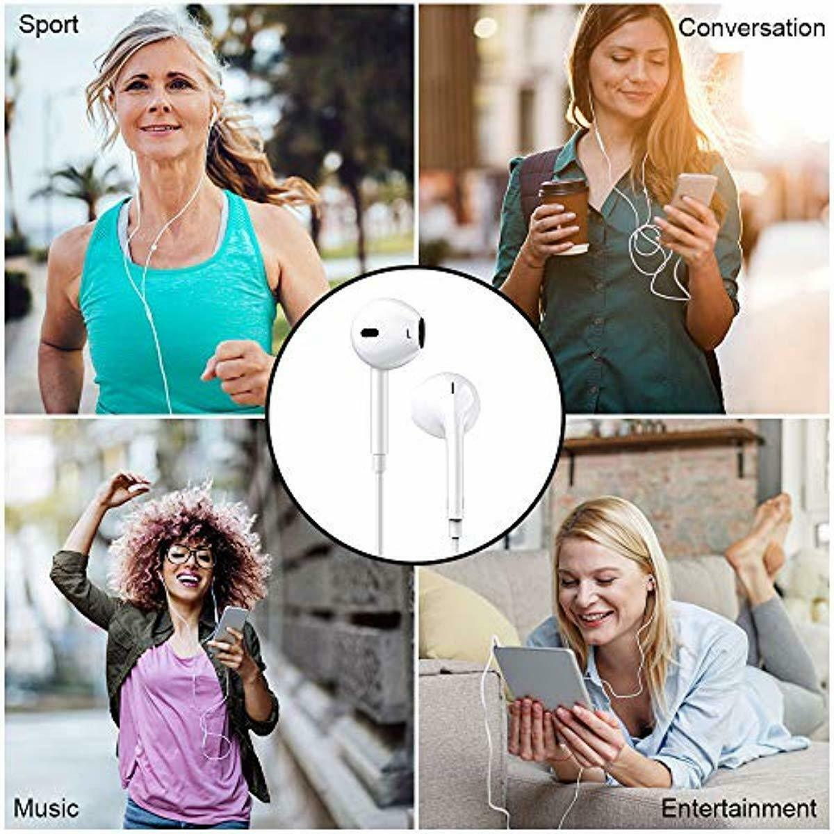 2 Pack Headphones Earphones Stereo Noise Isolating Earbuds Compatible iPhone New