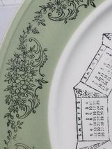 "VINTAGE 10"" PORCELAIN COLLECTOR'S PLATE 1969 CALENDAR GREEN BAND W/ SILVER PRINT image 5"