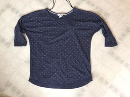 Navy Polka Dot T Shirt H&M LOGG Size Medium Raglan Sleeve - $9.49