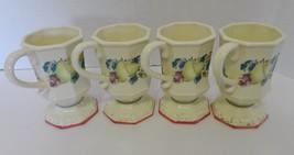 Avon Sweet Country Harvest Coffee Mugs / Cups Fruit Motiff Pink Trim Lot... - $19.68