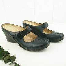 Naturalizer Comfort Shoes Women 9M Whinny Slip On Mary Jane Wedge Black Leather - $32.73
