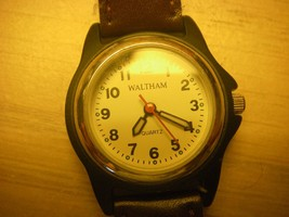 Vintage Waltham Wrist Watch  leather/mesh band new battery unisex quartz watch - $20.99