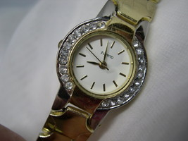 "L40, Ladies Dress Watch, Crystal Surround, 7.5"" Gold Tone Linked Band wb - $14.99"