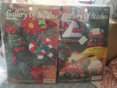 Vintage 1995 Bucilla Gallery Of Stitches Lot Of 2 NoS Felt Christmas Ornaments - $19.79
