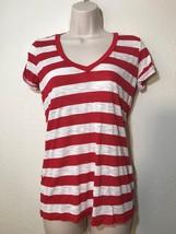 Splendid Red White Striped  V Neck Roll  Short Sleeve Top Size S - $13.96