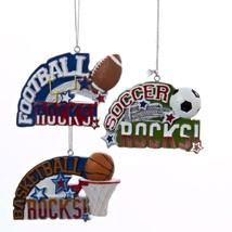 """Kurt Adler 3.5"""" Red, White and Green Soccer Rocks Sports Christmas Ornament - $8.65"""