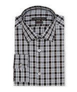 NWT JOHN VARVATOS dress shirt 14.5 32/33 black plaid cotton slim fit des... - €72,41 EUR