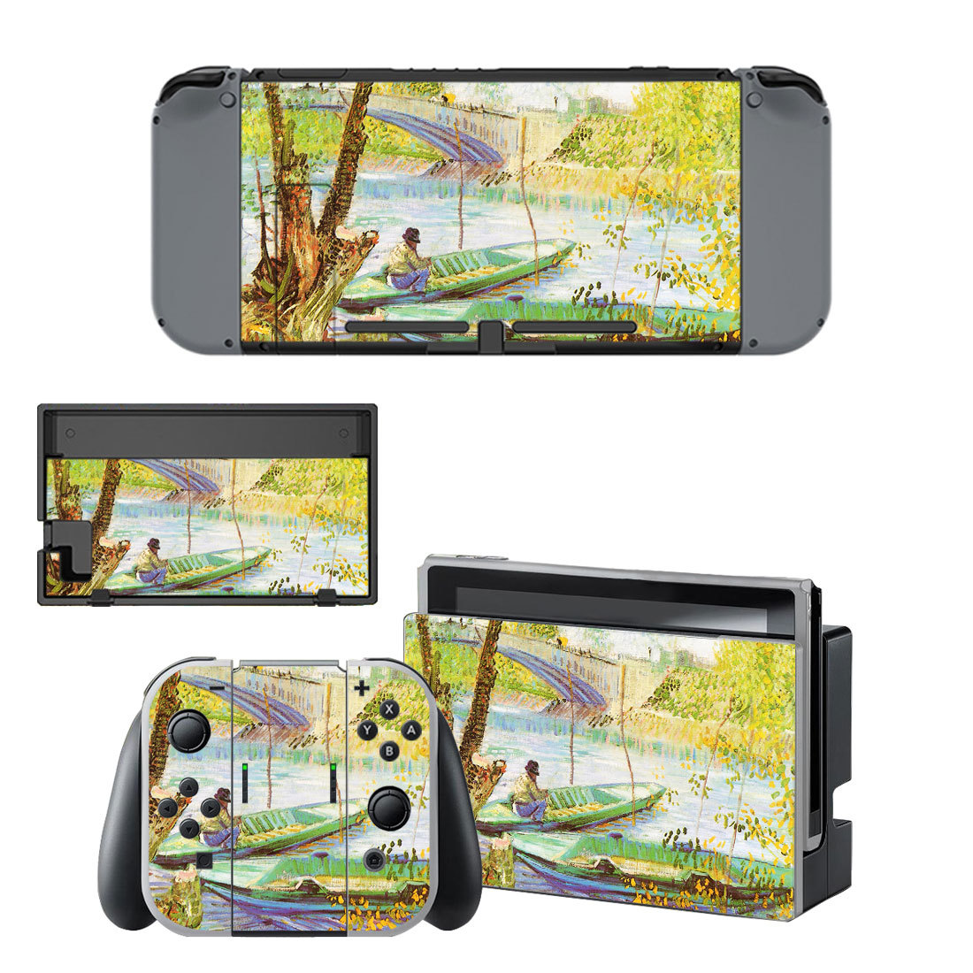 Fishing in spring  decal for Nintendo switch console sticker skin