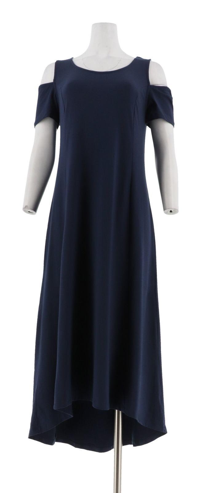 Isaac Mizrahi Cold Shoulder Hi-Low Hem Maxi Dress Dark Navy L NEW A306458