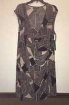 Ralph Lauren Black Tan Slinky Faux Wrap stretch Dress sz 2x New - $89.00