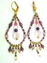 Lovely Beaded Amethyst Drop Earrings Made with Swarovski Crystal DazzleC... - $12.88