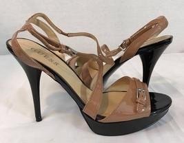 Guess Braun/Schwarze Sandalen Absatz Riemen Größe 8 1/2 M - $18.95