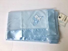 W11 BRIGHT FUTURE JCPenney BLUE SATIN BUNNY BEAR BABY BLANKET NWT Rare! - $63.59 CAD